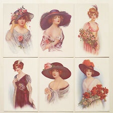 Serie Set 6 Cards - Glamour Lady Flowers Fiori - ST022
