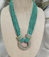 Vintage Boho Multi Strand Turquoise Seed Bead and Ring Pendant Necklace