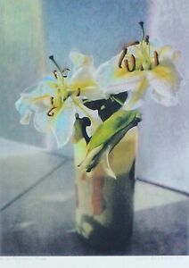 """Wera Schroener """" lilies """" HAND SIGNED 7/100 Pastelograph German Artist Schroner"""