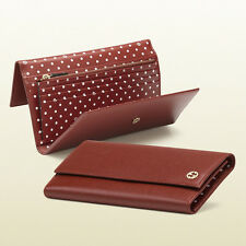 New Gucci Leather Continental Wallet w/Interlocking G, Red, 309714 6264
