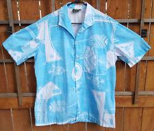 Vtg MAOHI TAHITI Hawaiian Shirt-Tribal-Blue/White-Button-Pocket-Surf Island-4