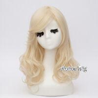 40CM Lolita Light Blonde Wavy Lady Short Hair Party Cosplay Full Wig+Wig Cap