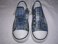BOYS GIRLS shoes size 11,12 KIDS canvas slip-on blue plaid no laces T15