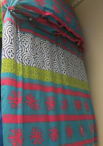 IKEA Lappljung King Duvet Cover Pillowcases Set Multi Ethnic Stripes Green Pink