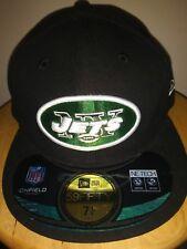 New York Jets Hat 59FIFTY NFL Black New Era On Field Cap Custom Flat Brim 7 1/8