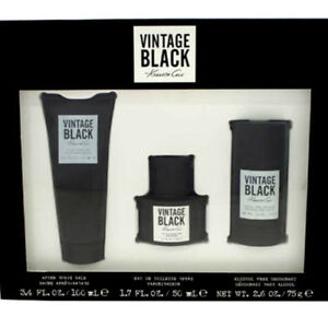 KENNETH COLE VINTAGE BLACK 1.7 COLOGNE, 3.4 after shave balm, 2.6 DEO (GIFT SET)