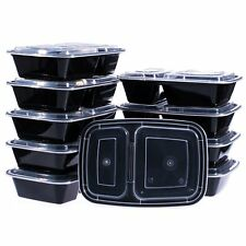 50 Meal Prep Containers 2 Compartment Plastic Food Storage Reusable Microwavable