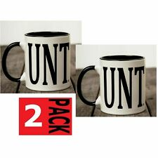 2 X Unt Mug With C Handle Novelty Coffee Tea Cup Rude Naughty + Free Gift Box