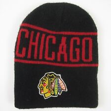 Vintage NHL Chicago Blackhawks STARTER Beanie Winter Stocking Hat Black