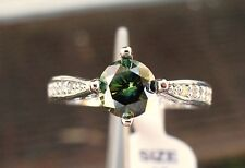 10k 1.05ct Dark Green Moissanite Ring w/Accents, Certificate Sizes 6,7,8,9,10