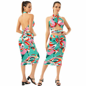 Women Stylish Print Satin Two-piece Outfit Crop Top Ruched Midi Skirt Clubwear S