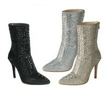 New Women's Bling Rhinestone Embellished Tall Ankle Boot Booties Stiletto Heel