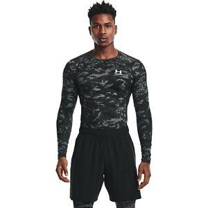 Under Armour HeatGear Camo Long Sleeve Top Men's Black White Sportswear T-Shirt