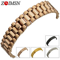 Stainless Steel Watch Band Strap Silver Rose Gold Curved End Bracelet 13 20mm