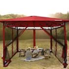 Quictent Red 10x10ft Mesh Curtains  Patio Gazebo Party Tent Wedding Canopy Shade