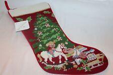 New! Nwt! Neiman Marcus Sferra Christmas Xmas Red Tree Toys Needlepoint Stocking