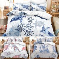 3PC Sea World Turtle Print Kid Bedding Set Duvet Cover Quilt Pillowcase All Size