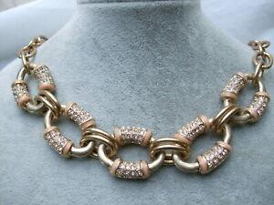 NWT $52 J.crew J. Crew Enamel Pave Chain Link Antique Gold Tone Collar Necklace