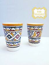 MOROCCAN TALL CUPS (Set of 2) – Handmade / Handpainted - Ceramic Orange Tumblers
