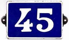 Old blue French house number 45 door gate plate plaque enamel metal sign steel