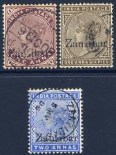 """ZANZIBAR 1895-96 1A, 1½A & 2A SMALL SECOND """"Z"""" VARIETIES FINE/VERY FINE CDS USED"""