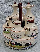 Hand Painted Dutch Japan Porcelain Oil Vinegar Salt Pepper Mustard Set FREE S/H