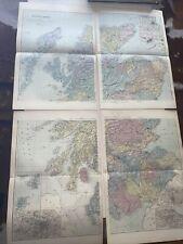 c1889 Scotland 4 Parts British Isles Map Bacon Antique Vgc