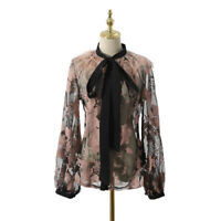 2019SS Womens Designer Inspired  Embroidery Lace Loose Fit Shirt Top