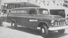 """12 By 18"""" Black & White Picture 1956 Chevrolet """"Milk Truck"""" Delivery"""