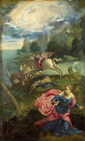 Oil painting The war of St. George and the dragon by the ocean landscape canvas