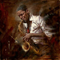 Dream-art Oil painting impressionism male portrait playing Jazz music canvas art