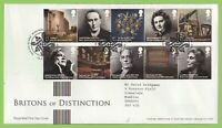 G.B. 2012 Britons of Distinction set on Royal Mail First Day Cover, Tallents Hou