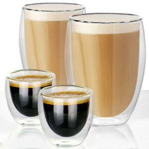 Set of 2 Double Walled Insulated Glasses Coffee Tea Glass Mugs Thermal Espressos