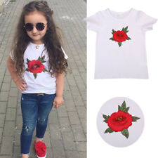 UK STOCK Rose Flower Tee Baby Girls Casual Crew Neck T-shirt Tops Blouse Clothes
