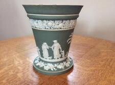 """Wedgwood sage green jasper dipped 6"""" flower vase MIE, AS IS"""