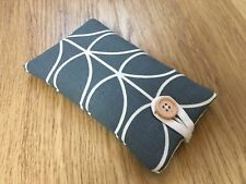 IPHONE X HANDMADE PADDED CASE MADE WITH ORLA KIELY COOL GREY LINEAR STEM FABRIC