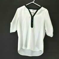 New York and Company Semi Sheer White and Black V Neck Blouse Top 1/2 Sleeve