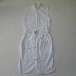 NWT Helmut Lang Optic White Washed Bellow Poplin Cotton Shirt Dress 2 $495
