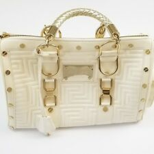 Gianni Versace Couture $2885 Snap Out Of It Madonna Designer Quilted Cream Bag
