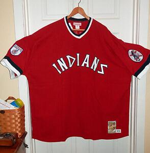 NWT M&N 1975 Cleveland Indian #37 Dennis Eckersley Scarlet Retro Jersey Sz 60