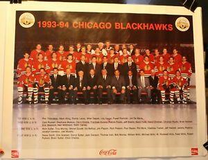 "1993-94 Chicago Blackhawks Coke 17 x 22"" Team Poster NHL Roenick Chelios"