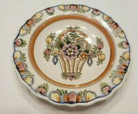 Vintage DP Delft polychrome wall plate flower basket design 6""