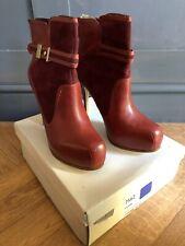 BNIB Stunning Designer deep Red Platform High Heel Ankle Boots Size 8