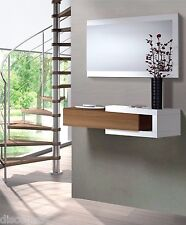 Nicia Hallway Wall Unit 1 Drawer Walnut Frame & White + Mirror Included