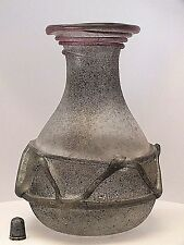 Rare Signed Genuine Renato Anatra Venetian Romanesque Scavo Glass Vase (No.1)