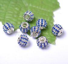 Big Hole Czech Crystal Rhinestone Spacer Beads Fit European Charms Bracelets