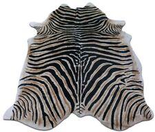 Zebra Cowhide Rug Size: 7' X 6' Genuine Zebra Print Cow Hide Rug