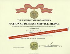 Ndsm National Defense Service Medal Certificate Army Navy Air Force Marines