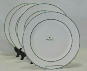 "Kate Spade New York Nags Head 11 1/2"" Dinner Plates Navy & White Set of Four New"