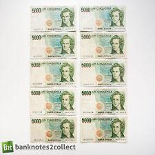 ITALY: 10 x 5,000 Italian Lira Banknotes.